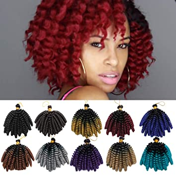 6 Inch Short Curly Crochet Braids Hair Extension Jumpy Wand Curly Crochet  Hair Jamaican Bounce Synthetic a65ad2917e