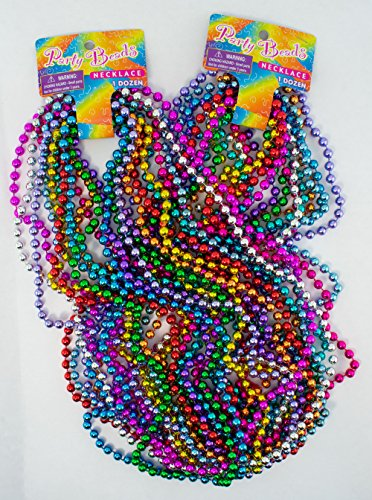- Giggle Time Children's Mardi Gras Bead Necklace Assortment - (36) Pieces - Assorted Colors - for Kids, Boys and Girls, Party Favors, Pinata Stuffers, Children's Gift Bags, Carnival Prizes