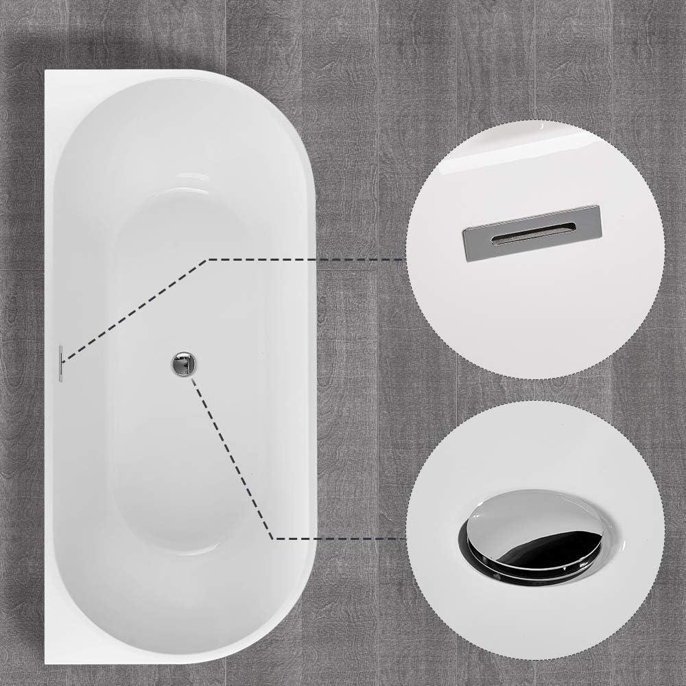BATH MASTER Freestanding Bathtub Acrylic Bathroom Soaking Tub with Chrome Overflow and Drain 59, T03