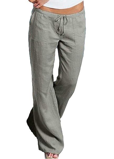 BOLAWOO Primavera Elegantes Hipster Anchos Pantalones Anchos Cordón Interno  para Bolsillos Laterales Cintura Media Mode De Marca Color Sólido Pants  Largos ... d502b3231b94