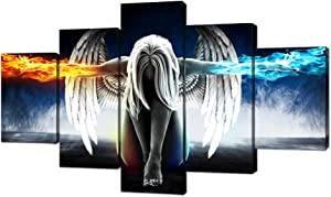 """Fire and Ice Angel Wings of Contemporary Girl Abstract Canvas Wall Art Painting for Living Room Wall Art Picture Gift Home Decoration 5 Pieces Canvas Print printed Framed Ready to Hang (60""""Wx32""""H, a)"""