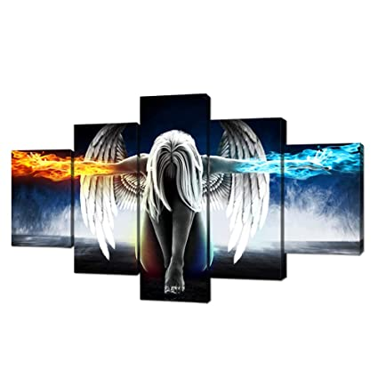 Amazon.com: Fire and Ice Angel Wings of Contemporary Girl Abstract ...