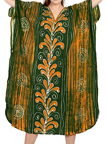 LA LEELA 100% cotone batik beachwear allentato lungo caftano vestito casuale costumi da bagno delle donne maxi Verde_d311
