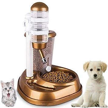 Dr Nezix 2 en 1 Comedero y Bebederos de Animales Automático Alimentador Platos para Perros y Gatos y Cachorros Alimentos Agua Dispensador, Oro: Amazon.es: ...