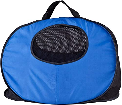 Goodhope Solid-Colored Nylon Collapsible Pet Carrier Blue