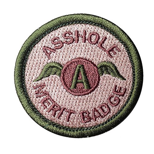 Asshole Merit Badge Military Tactical Morale Funny Patches Emblem Embroidered Fastener Hook and Loop Patches Badges Applique Perfect for Your Gear,Backpack,Baseball Cap,Vest-2.48