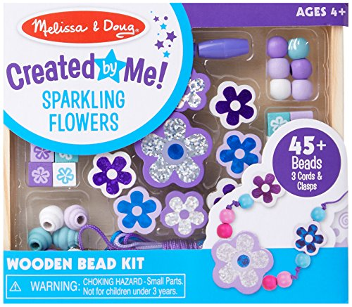 Melissa & Doug Sparkling Flowers Wooden Bead Set (45+ Beads, 3 Lacing Strings)