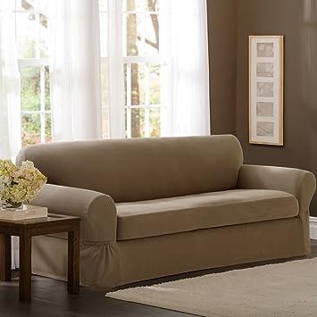 Amazoncom Maytex Pixel Stretch 2Piece Sofa Slipcover Sand