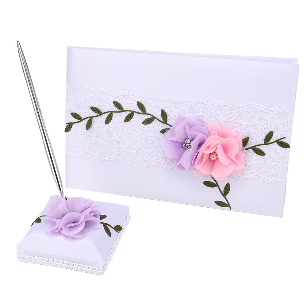 Alextry Matrimoni Decor Flower Libro degli Ospiti con Penna e Penna Supporto Set Raso Pizzo Signature Book Party Supplies