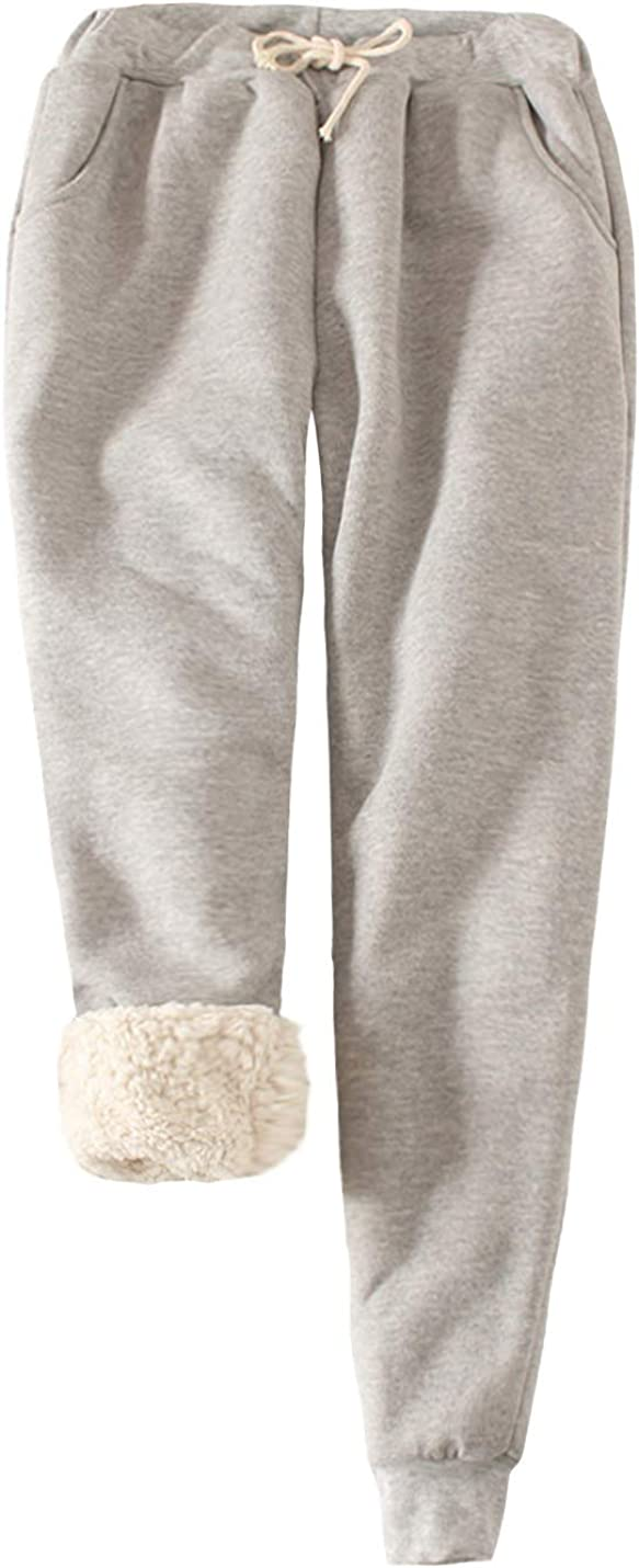 ZGZZ7 Women's Winter Warm Athletic Sherpa-Lined Sweatpants Running Active Thermal Fleece Jogger Pants with Candy Colors
