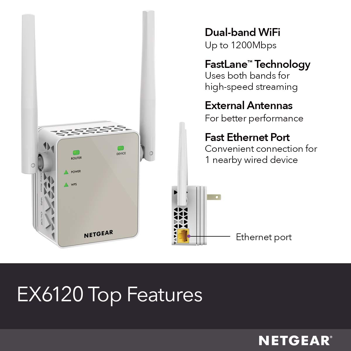 Netgear AC1200 WiFi Range Extender - Essentials Edition (EX6120-100NAS)