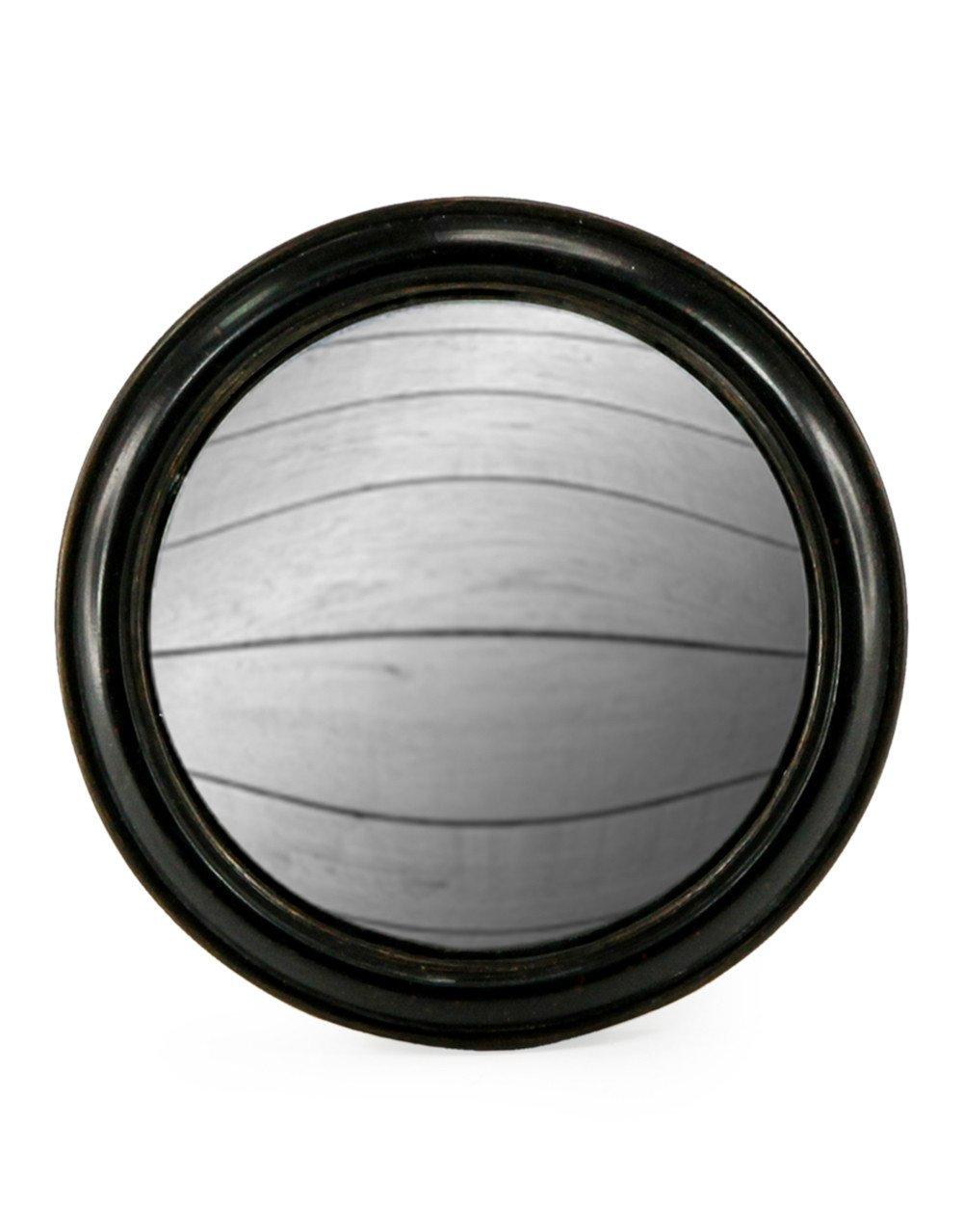 Specchio fisheye, convesso e rotondo, con cornice nera sottile in legno, 23 cm