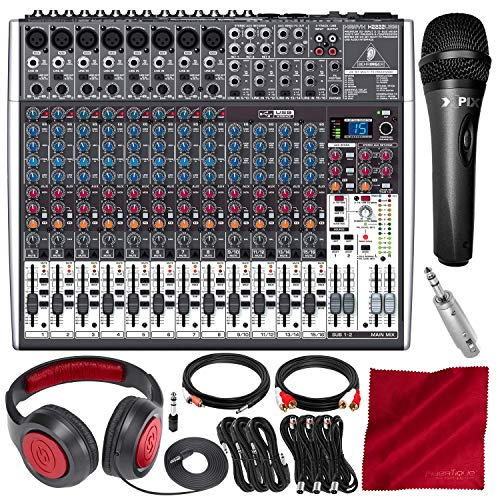 - Behringer Xenyx X2222USB 22-Input 2/2-Bus Mixer with USB/Audio Interface and Effects + Microphone & Headphones Deluxe Bundle