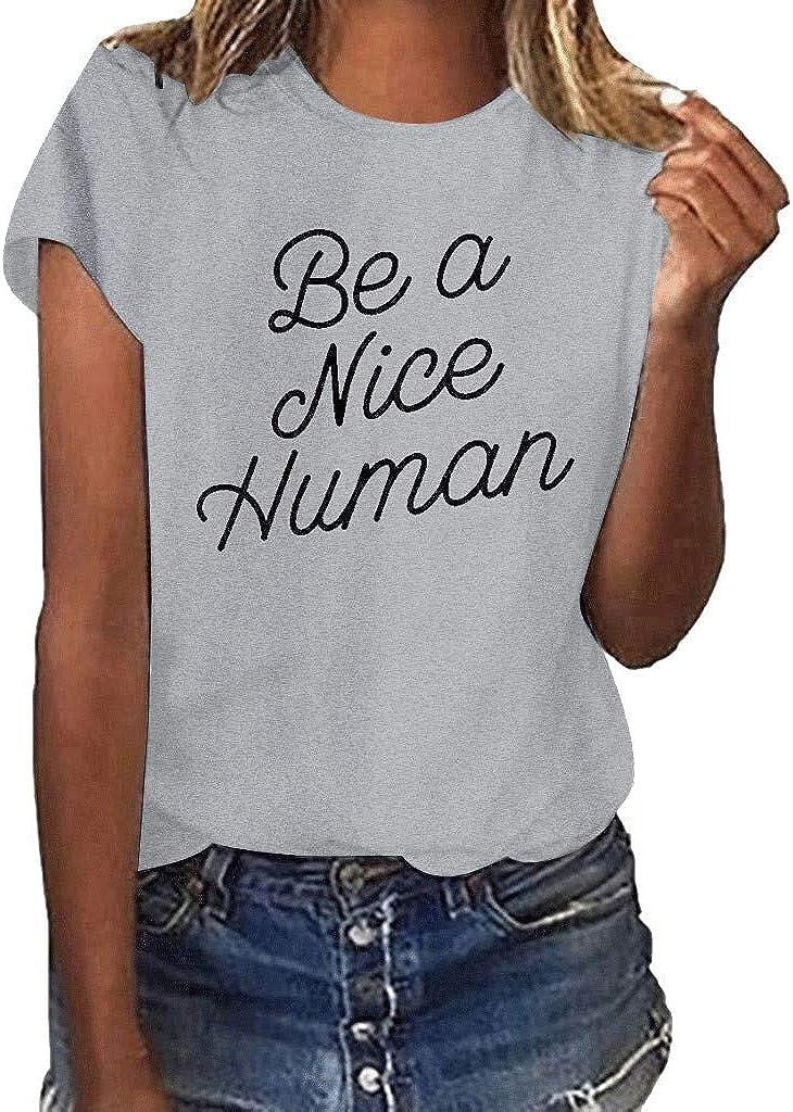 Drfoytg Women Girls Plus Size Letter Print T-Shirt Short Sleeve Solid Color Top Blouse