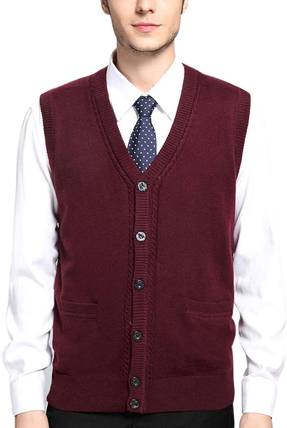 button up sweater vest for men
