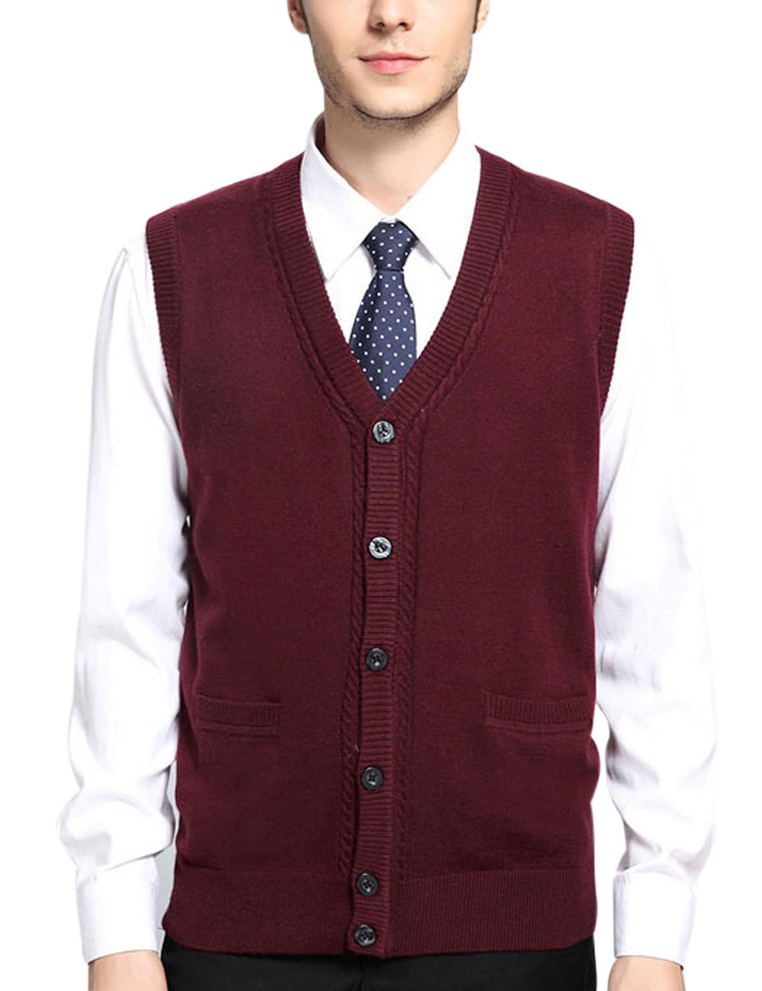 Yeokou Men's V Neck Wool Cashmere Sleeveless Button Down Sweater Vest Waistcoat (X-Large, Wine Red002)