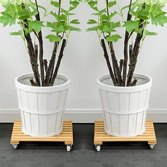 Amazon.com : Younar Square Wooden Plant Stand with Wheels, Heavy Duty Plant Caddy for Indoor Outdoor, Pack of 2 : Garden & Outdoor