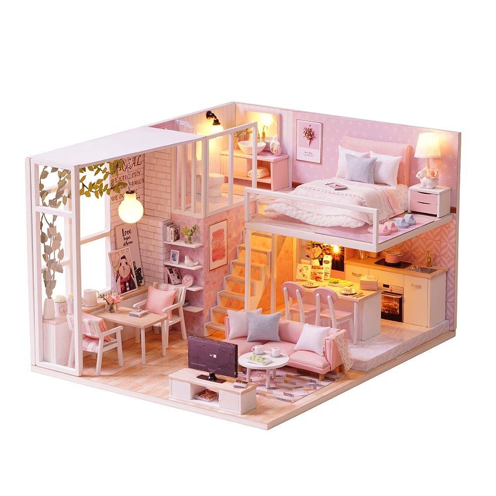 Supertop fai da te casetta capanna piccola casa di bambola casa assemblea in legno decorazione della casa vacanza regalo di compleanno casa rosa