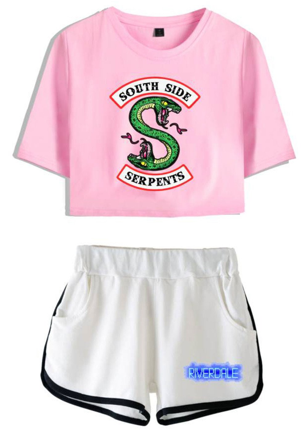 SERAPHY Riverdale Clothing Crop Top T-Shirt and Shorts Suit for Girls/Wowen 5760 Pink-Whites