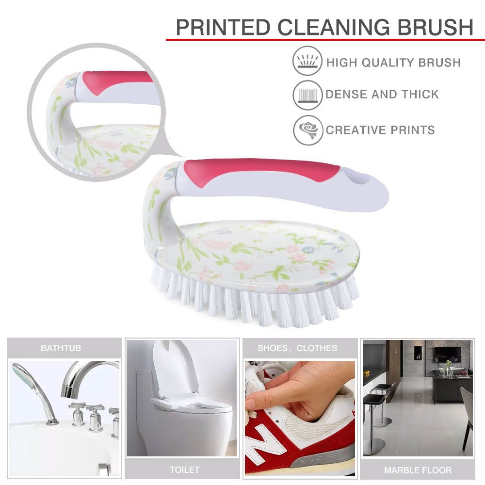Masthome Printed Cleaning Dustpan Set With Dish Brush &Scrubber Brush 4-piece Cleaning Set by Masthome (Image #3)