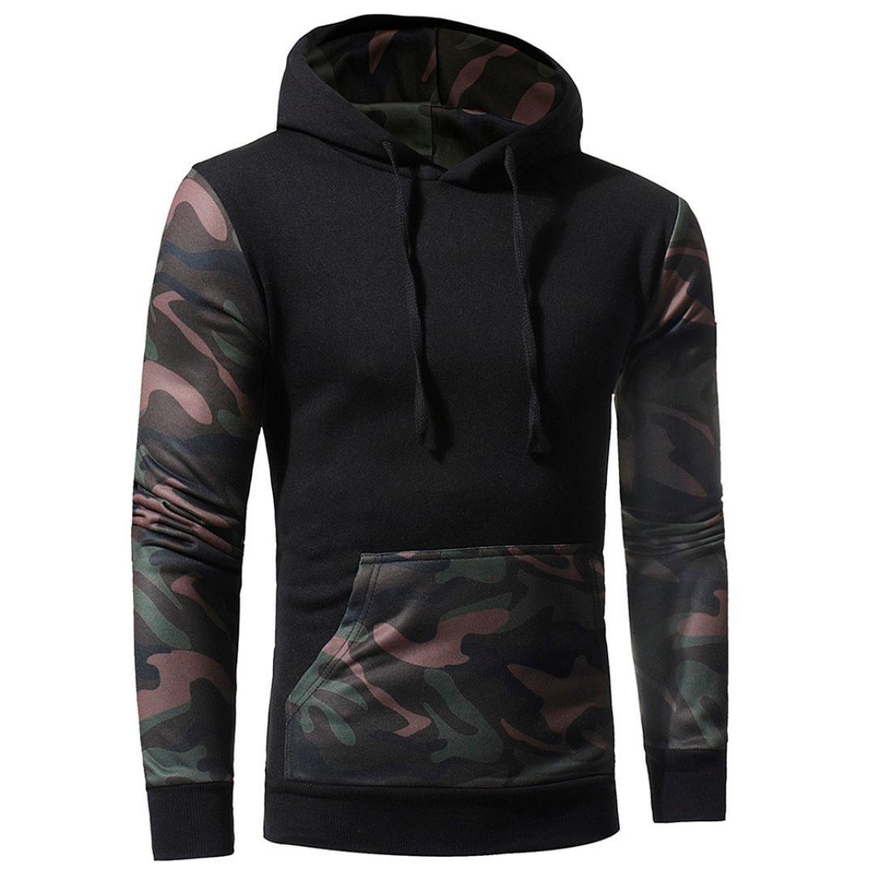 Sinzelimin Winter Autumn Men's Camouflage Sweatshirt Sport Long Sleeve Causal Jacket with Hood Coat Outwear (Black, XXXL)