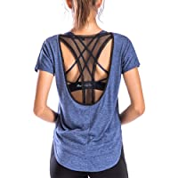 Move With You Womens Yoga Workout Tops Mesh Open Back Shirts Short Sleeve Sports Running Gym Loose Fit Activewear Athletic Clothes