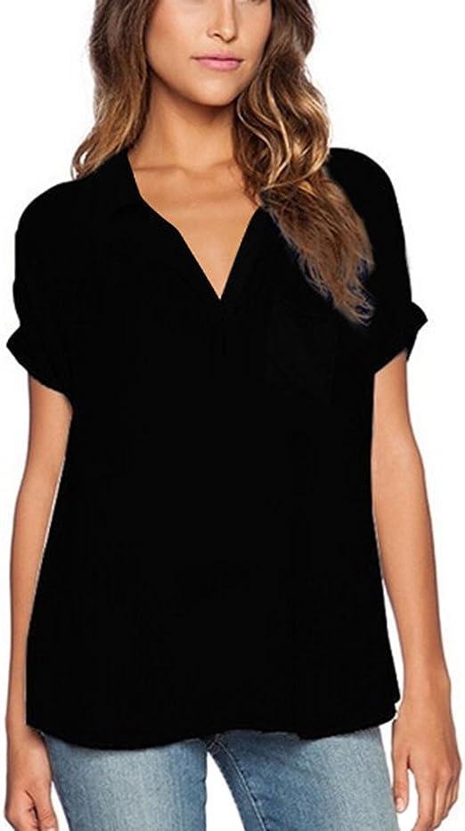 ZANZEA Damen V-Ausschnitt Chiffon Langarm Slim Oversize T-Shirt Bluse Lose Tops