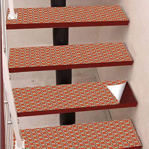 C Stair Pads,Self-Adhesive Steps Sticker,Staircase Treads Protector,Floral with Warm Color Palette Flowers and Retro Dots Surreal Art Decorative,for Home Decoration(9.8X39 inch) Se ()