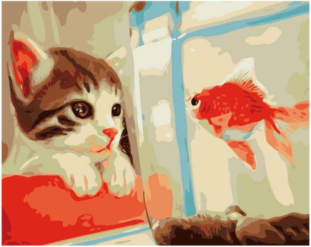 WENXIUF Marco DIY Pintura Gato Quiere Comer Peces De Colores ...