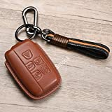 Luxury Genuine Leather Key Case Cover with Key Chain for Land Rover LR2 LR4 Range Rover Discovery Vogue Jaguar XJ XF