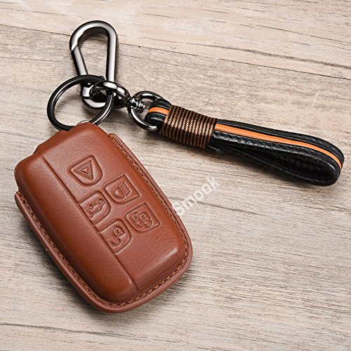 Luxury Genuine Leather Key Case Cover with Key Chain for Land Rover LR2 LR4 Range Rover Discovery Vogue Jaguar XJ XF by Zorratin