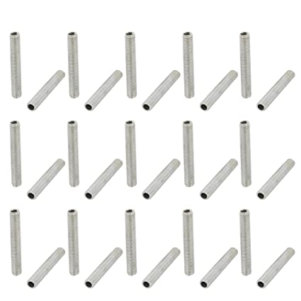 Uxcell 30Pcs Metric M7 1mm Pitch Thread Zinc Plated Pipe Nipple Lamp Parts  45mm Lenght