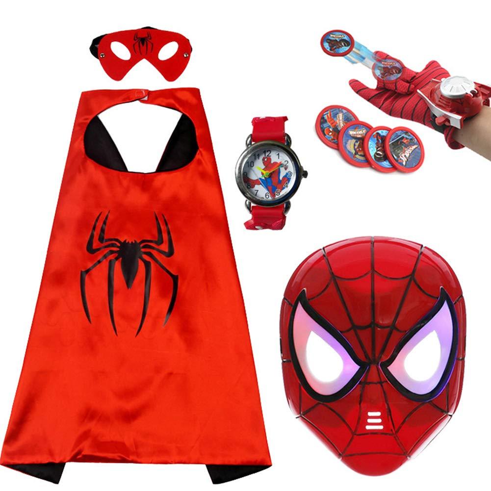 WSJDPP Spiderman's Cloak Glowing Mask Halloween Children's Cartoon Toys Anime Launcher Gloves Watch Five-Piece Set for Festivals Halloween by WSJDPP