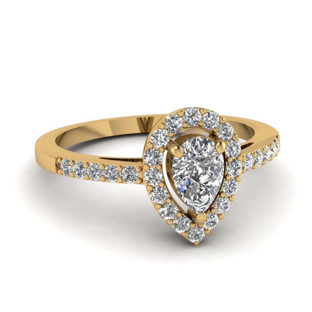 Jalash Prong Set Yellow Gold Plating Pear /& Round Cut White CZ Diamond Engagement Wedding Ring
