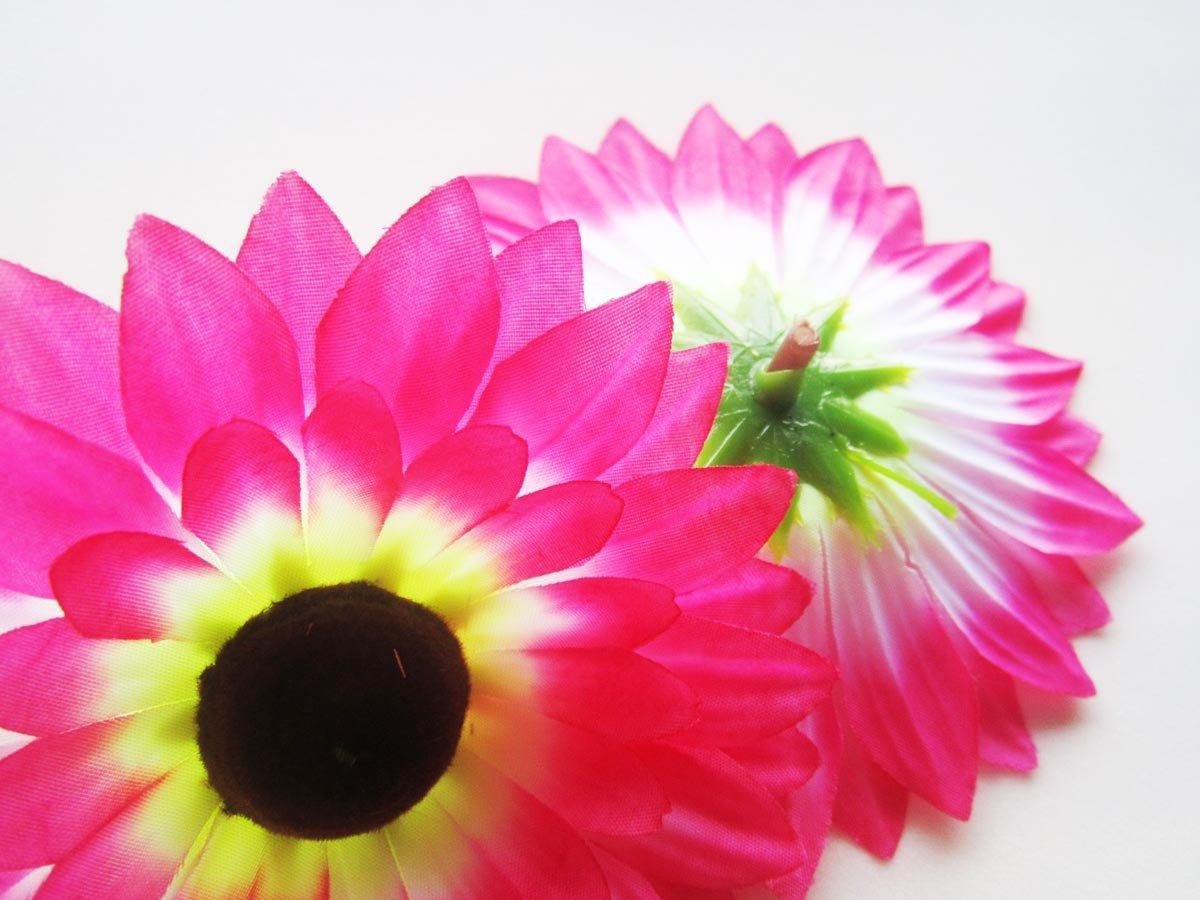 Amazon.com: (12) Silk Hot Pink Sunflowers Daisy Sun Flower Heads ...