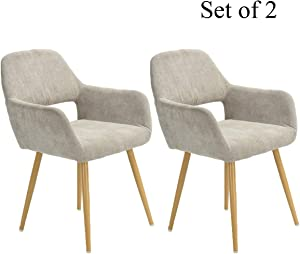 HOMY CASA Dining Chairs Set of 2 with Arm for Living Room, Fabric Mid Century Side Kitchen Chairs with Solid Painting Steel Leg for Kitchen Dining Room Bedroom Leisure Chair