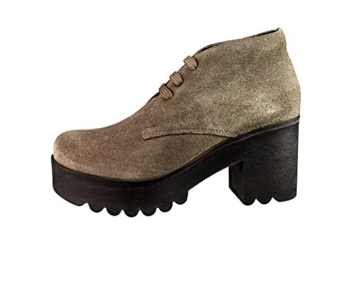 BOTINES BAJOS EN PIEL SERRAJE CON PLATAFORMA: Amazon.es: Zapatos y complementos