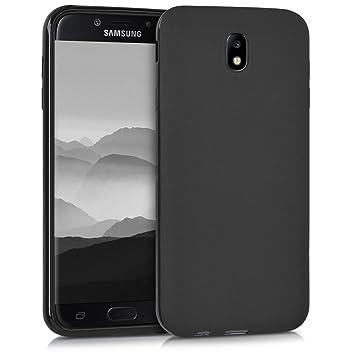 kwmobile Funda para Samsung Galaxy J7 (2017) DUOS - Carcasa para móvil en [TPU Silicona] - Protector [Trasero] en [Negro Mate]