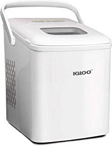 Igloo ICEB26HNWHN Automatic Self-Cleaning Portable Electric Countertop Ice Maker Machine With Handle, 26 Pounds in 24 Hours, 9 Ice Cubes Ready in 7 minutes, With Ice Scoop and Basket, White