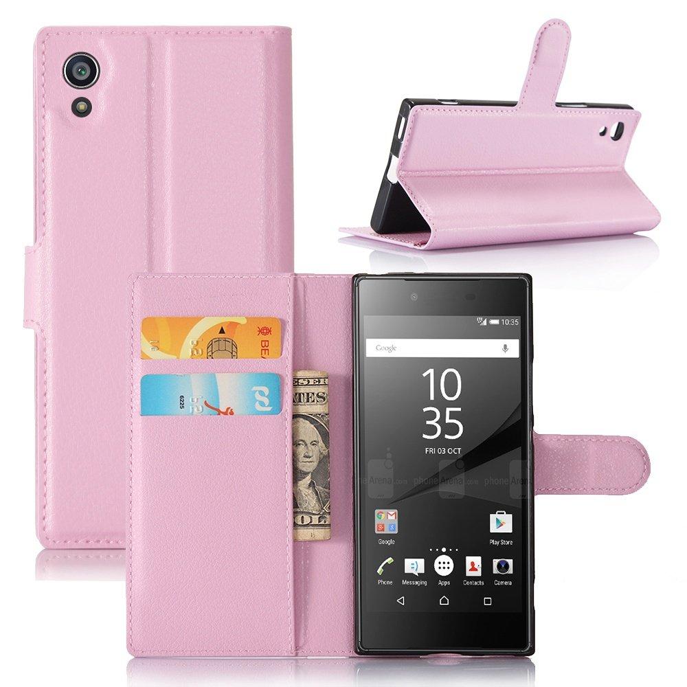 Guran® Funda de Cuero PU Para Sony Xperia XA1 Smartphone Función de Soporte con Ranura para Tarjetas Flip Case Cover Caso-rosa