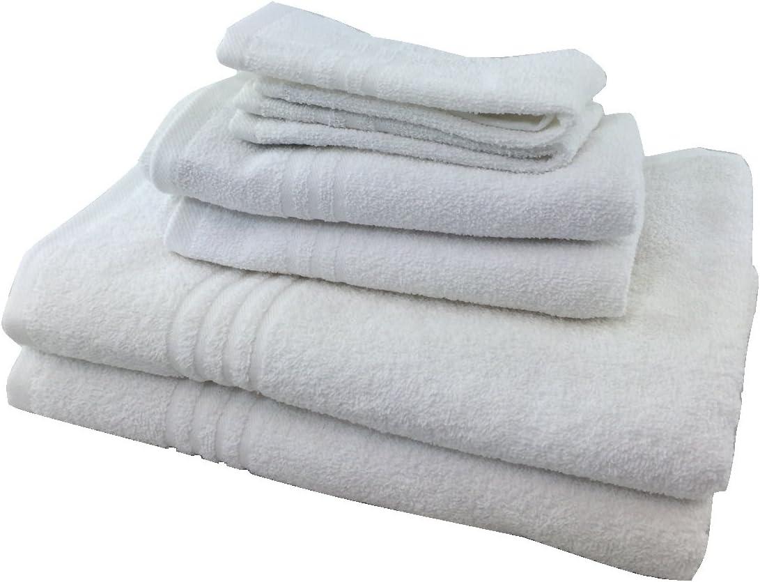 Metro Green Stripe 6 Piece Ring Spun Cotton Bath Towel Set Cotton Towel Set
