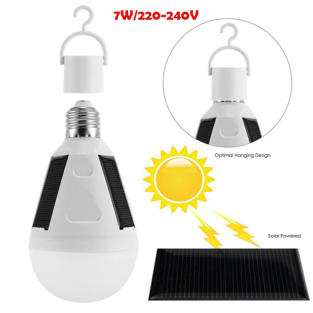 LED Solar Light Bulb 7W E27 Tent Outdoor Camping Fishing Solar Lamp