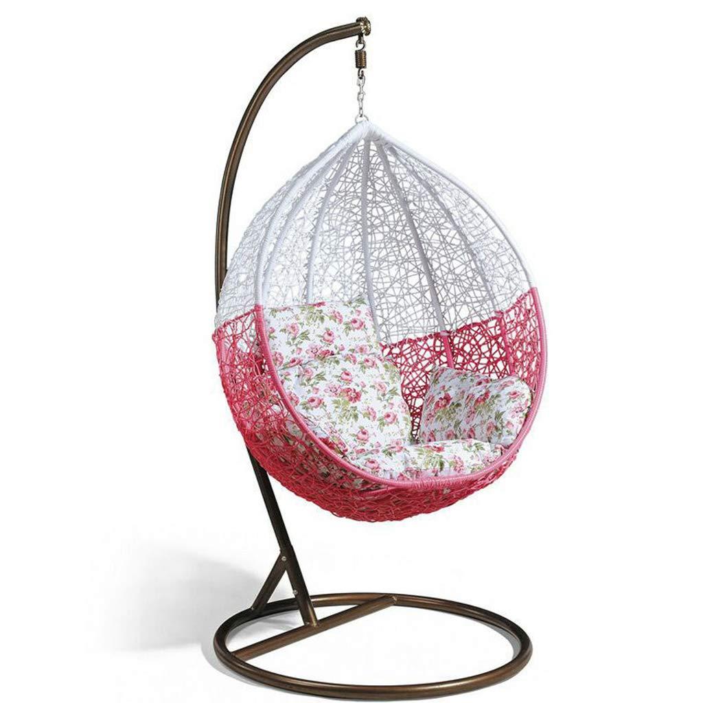 吊り椅子、籐の椅子ハンガーブラケット+クッション+フード(ホワイト/グレー/レッド),Red  Red B07R9RJX9N