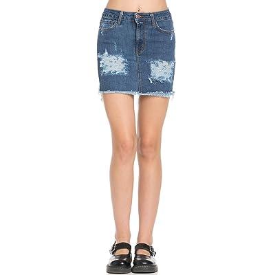 O2 Denim High Waisted Distressed Denim Skirt