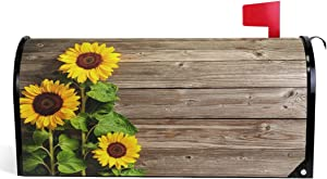 "Wamika Beautiful Sunflowers Mailbox Cover Vintage Wood Board Mailbox Covers Magnetic Fall Autumn Flower Mailbox Wraps Post Letter Box Cover Garden Decor Standard Size 18"" X 21"""