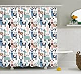 Ambesonne Llama Shower Curtain, Children Cartoon Style Hand Drawn South American Animals Alpacas and Llamas Design, Cloth Fabric Bathroom Decor Set with Hooks, 75 inches Long, Multicolor