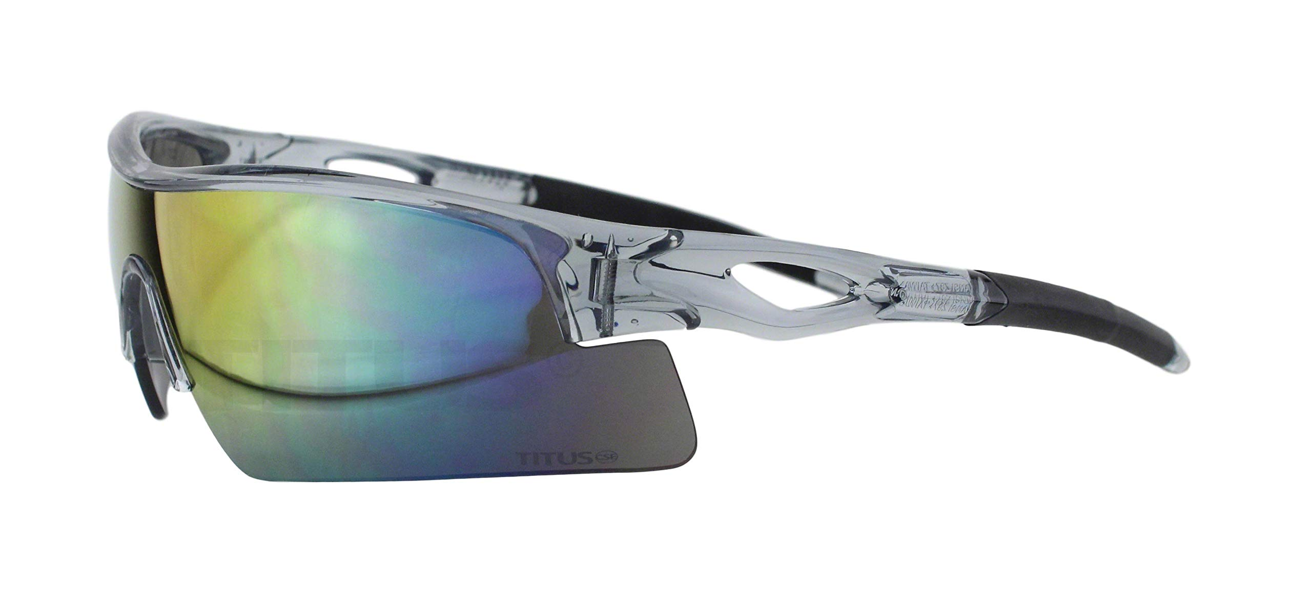 Titus All-Sports Frame Safety Glasses (with Pouch, Grey Frame - Mirrored Lens) by Titus