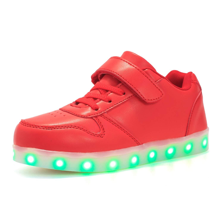 LED Zapatillas de 7 Colores de Luces con USB de Carga Transpirables para los Niños y los Adolescentes Zappatillas Light Up USB Velcro Flashing Zapatillas