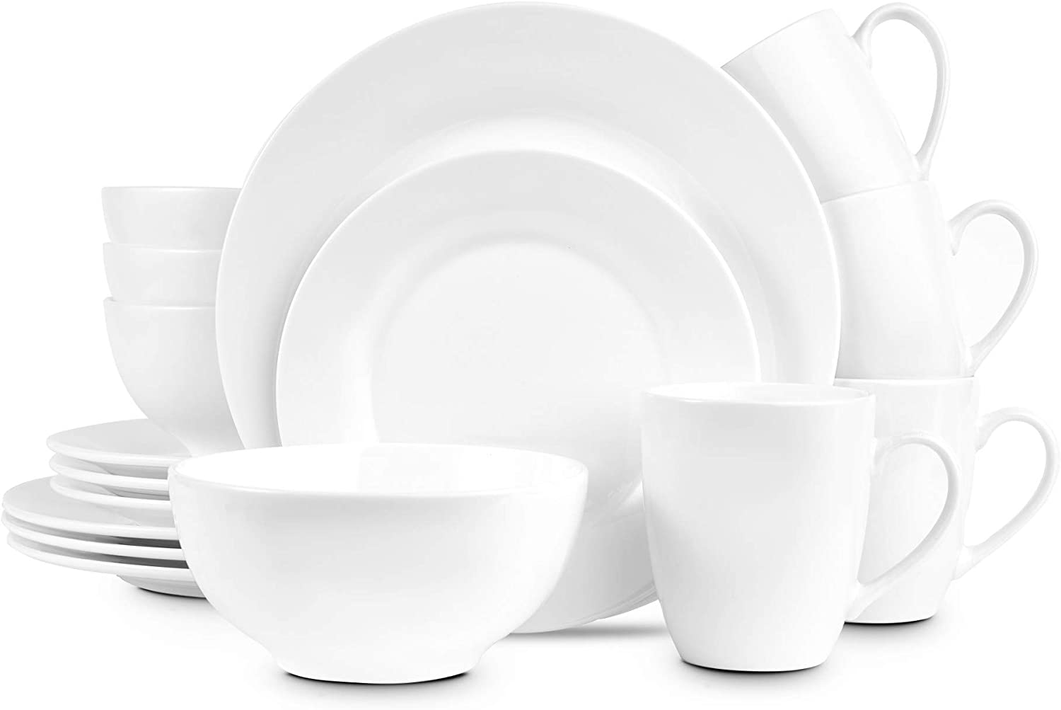 Stone lain Evermore Porcelain White Body Round Dinnerware Set, 16 Pieces Service for 4