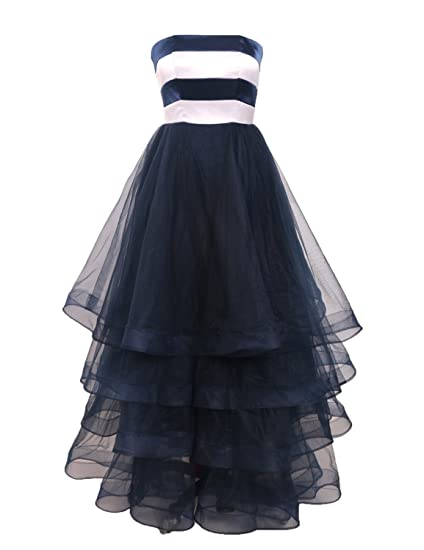 Stillluxury Tiered Tulle Long Evening Gowns Women Striped Corset Homecoming Prom Dresses Navy Size 6